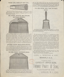 Advert For John L Whiting & Son's Paint Brushes reverse